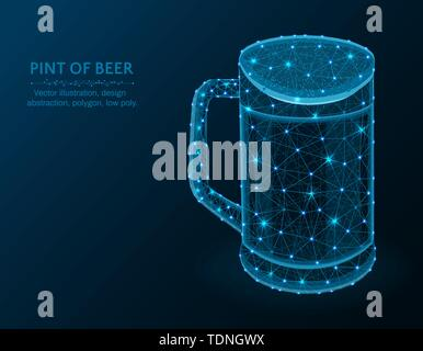 Pint of beer low poly graphic model, polygonal glass mug, alcohol drink wire frame vector illustration on dark blue background - Stock Photo