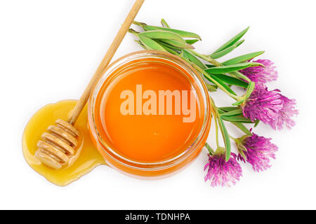 Honey with clover flowers isolated on white background. Top view. Flat lay. - Stock Photo