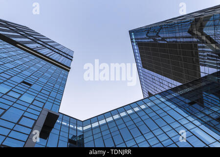 Looking up at CBD office buildings - Stock Photo
