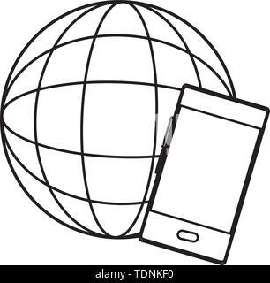 globe world sphere icon cartoon in black and white - Stock Photo
