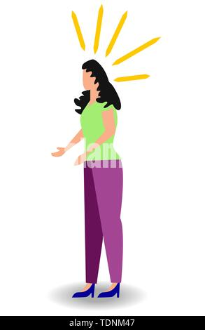 Woman having headache, migraine, pressing hand to her forehead, cartoon vector illustration isolated on white background. - Stock Photo