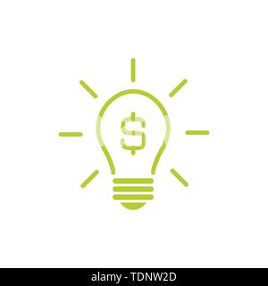 Green Dollar banknote icon  Money sign isolated, Vector