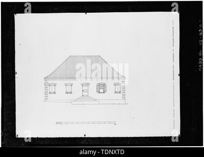 Photocopy of a measured drawing (original in the possession of the Kunstakademiets (Royal Academy of Fine Arts), Copenhagen, Denmark, 1961) EAST (FRONT) ELEVATION - Richmond Prison, Keeper's House, Richmond, St. Croix, VI - Stock Photo