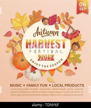 Invitation to autumn Harvest Festival. Stock Photo