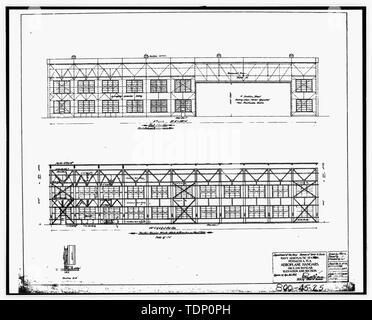 Photocopy of drawing (this photograph is an 8 x 10 copy of an 8 x 10 negative; microfilm of 1917 architectural drawing located at NARA) AEROPLANE HANGARS, 100 X 216 HANGAR, ELEVATION AND SECTION, SHEET 8 OF 18 - U.S. Naval Air Station, Seaplane Hangar, 521 South Avenue, Pensacola, Escambia County, FL - Stock Photo