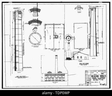 Photocopy of drawing (this photograph is and 8' x10' copy of an 8' x 10' negative; mircofilm of 1936 original architectural drawing located located at NARA) Repairs to chimneys, central power plant and naval hospital. - U.S. Naval Air Station, Power Plant, 328 South Avenue, Pensacola, Escambia County, FL - Stock Photo