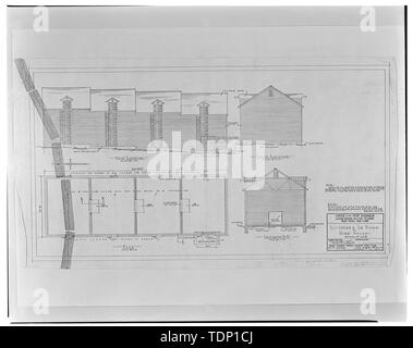 Photocopy of drawing, August 30, 1951 (original in files of United States Military Academy Architectural Archive, West Point, New York) CONVERSION OF ICE HOUSE TO WAREHOUSE, FRONT ELEVATION, SOUTH ELEVATION, PLAN, TRANSVERSE SECTION - U.S. Military Academy, Ice House, Mills Road at Howze Place, West Point, Orange County, NY - Stock Photo