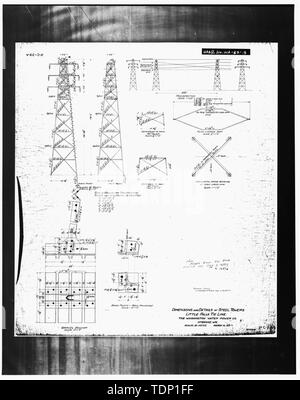 Photocopy of engineering drawing (original drawing located in WWP Building, Transmission Department, Spokane, Washington). DIMENSIONS AND DETAILS OF STEEL TOWERS, LITTLE FALLS TIE LINE. - Little Falls Tie Line Towers, Near Little Dam Falls on Spokane River, Wellpinit, Stevens County, WA; Gill, Barry, transmitter - Stock Photo