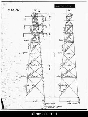 Photocopy of engineering drawing (original drawing located in WWP Building, Transmission Department, Spokane, Washington). Enlargement of STANDARD 50 TOWER. - Little Falls Tie Line Towers, Near Little Dam Falls on Spokane River, Wellpinit, Stevens County, WA; Gill, Barry, transmitter - Stock Photo
