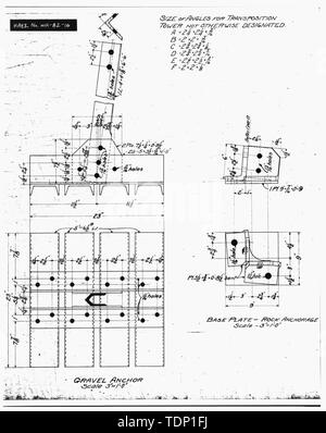 Photocopy of engineering drawing (original drawing located in WWP Building, Transmission Department, Spokane, Washington). Enlargement of TOWER ANCHORS. - Little Falls Tie Line Towers, Near Little Dam Falls on Spokane River, Wellpinit, Stevens County, WA; Gill, Barry, transmitter - Stock Photo