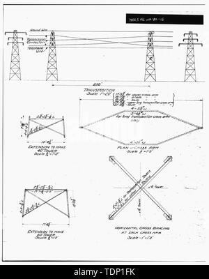 Photocopy of engineering drawing (original drawing located in WWP Building, Transmission Department, Spokane, Washington). Enlargement of VARIOUS TOWER DETAILS. - Little Falls Tie Line Towers, Near Little Dam Falls on Spokane River, Wellpinit, Stevens County, WA; Gill, Barry, transmitter - Stock Photo