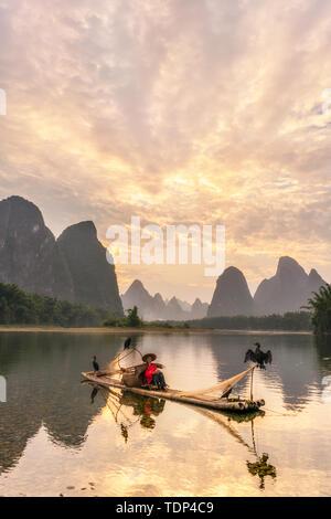 Fisherman on the Li River - Stock Photo