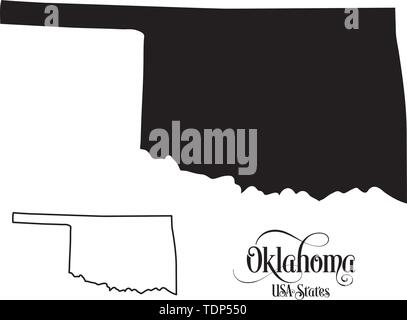 Map of The United States of America (USA) State of Oklahoma - Illustration on White Background. - Stock Photo
