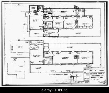 Photocopy of drawing (this photograph is an 8 x 10 copy of an 8 x 10 negative; 1935 original NARA) Quarters B floor plans, sheet 1 of 1 - U.S. Naval Air Station, Senior Officers' Quarters Q-4, Q-4 North Avenue, Pensacola, Escambia County, FL - Stock Photo