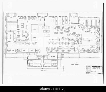 Photocopy of drawing (this photograph is an 8 x 10 copy of an 8 x 10 negative; 1948 architectural drawing located at Building No. 458, NAS Pensacola, Florida) PLAN FOR LAUNDRY EQUIPMENT LAYOUT, SHEET 1 OF 1. - U.S. Naval Air Station, Laundry, 110 Center Avenue, Pensacola, Escambia County, FL - Stock Photo