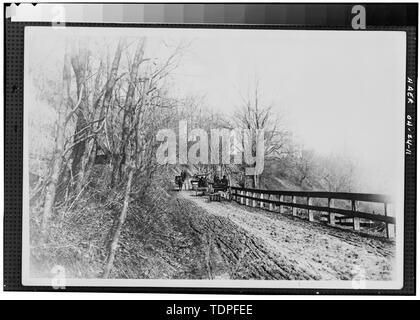 (from collection of Mrs. L. J. Fargo, Lexington, Ohio) showing HORSE DRAWN VEHICLES MEETING ON SIDEHILL TRAIL ON FULLERS HILL, 1890. - Forty-sixth Street Bridge, Spanning Ashtabula River, Ashtabula, Ashtabula County, OH - Stock Photo