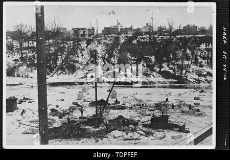 (from collection of Mrs. L.J. Fargo) showing CONSTRUCTION ACTIVITY - INSTALLATION OF MASONRY PEDESTALS FOR HIGH-LEVEL BRIDGE, 1895-96 - Forty-sixth Street Bridge, Spanning Ashtabula River, Ashtabula, Ashtabula County, OH - Stock Photo