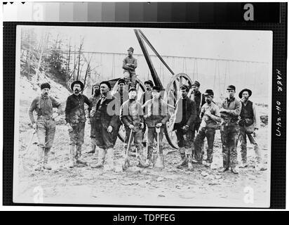 (from collection of Mrs. L.J. Fargo) showing WORK CREW THAT INSTALLED MASONRY ABUTMENTS FOR HIGH-LEVEL BRIDGE, 1895 - Forty-sixth Street Bridge, Spanning Ashtabula River, Ashtabula, Ashtabula County, OH - Stock Photo