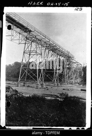 (from collection of Mrs. L.J. Fargo, Lexington, Ohio) showing CONSTRUCTION ACTIVITY OF STEELWORK FOR HIGH-LEVEL BRIDGE, 1896. - Forty-sixth Street Bridge, Spanning Ashtabula River, Ashtabula, Ashtabula County, OH - Stock Photo