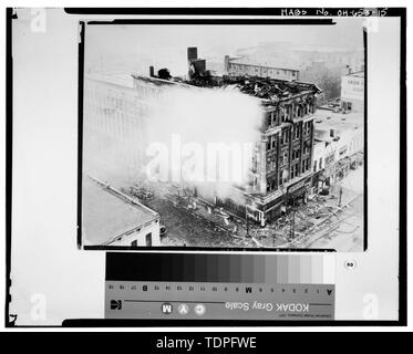 (original photocopy in the possession of the Allen County Museum, circa 1930), photographer unknown VIEW OF THE HOLLAND BUILDING AND ANNEX FOLLOWING THE 1929 FIRE - Holland Block Annex, 112-116 East High Street, Lima, Allen County, OH - Stock Photo