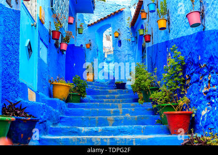Chefchaouen, a city with blue painted houses. A city with narrow, beautiful, blue streets. Chefchaouen, Morocco, Africa - Stock Photo