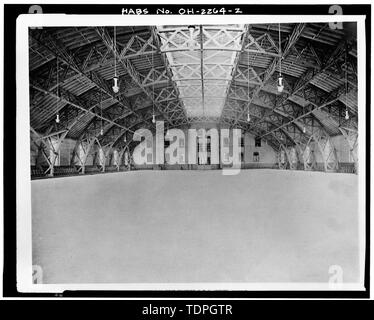 from 'Selections from Executed Work and Sketches,' Hannaford and Sons, Architects, circa 1893 INTERIOR OF DRILL HALL - Ohio National Guard Armory, 1417-1437 Western Avenue, Cincinnati, Hamilton County, OH - Stock Photo