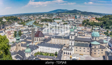Cityscape of Salzburg as seen from above. The City of Salzburg is one of the most well-preserved medieval cities in Europe, the center of the city is  - Stock Photo