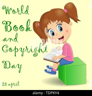 International Children's book day poster. Cute girl with a pile of books. - Stock Photo