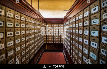 Mailboxes at the Central Post Office building, built in 1916; Asmara, Central Region, Eritrea - Stock Photo