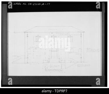 Photographic copy of reproduced original construction drawing. EAST ELEVATION - Beverly Vista School, Administration Building, 200 South Elm Drive, Beverly Hills, Los Angeles County, CA - Stock Photo