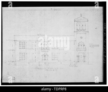 Photographic copy of reproduced original construction drawing. EAST ELEVATION - Beverly Vista School, Manual Arts and Classroom Building, 200 South Elm Drive, Beverly Hills, Los Angeles County, CA - Stock Photo