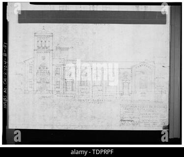 Photographic copy of reproduced original construction drawing. NORTH ELEVATION - Beverly Vista School, Manual Arts and Classroom Building, 200 South Elm Drive, Beverly Hills, Los Angeles County, CA - Stock Photo