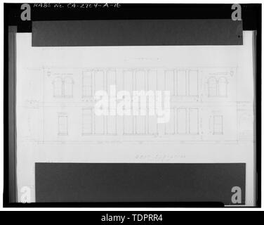 Photographic copy of reproduced original construction drawing. WEST ELEVATION - Beverly Vista School, Administration Building, 200 South Elm Drive, Beverly Hills, Los Angeles County, CA - Stock Photo