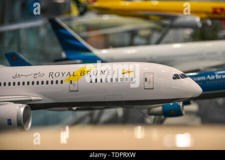Kuala Lumpur, Malaysia - May 4, 2018. Airplane model (Royal Brunei Airlines Boeing 787 Dreamliner) for display at Departure Hall of Kuala Lumpur Airpo - Stock Photo