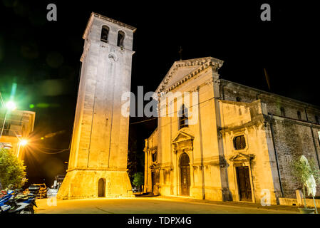 Pula Cathedral and tower; Pula, Istria, Croatia - Stock Photo