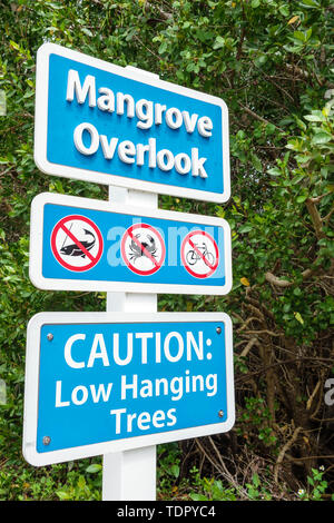 Sanibel Island Florida J.N. Ding Darling National Wildlife Refuge environmental conservation education Wildlife Drive trail mangrove overlook sign - Stock Photo