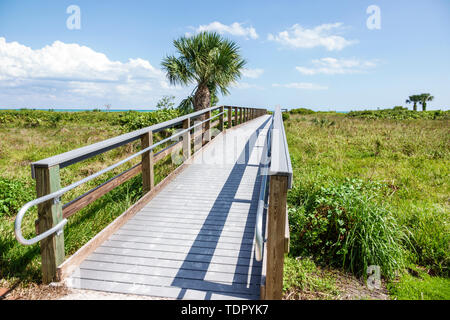 Sanibel Island Florida Gulf of Mexico Coast beach dune boardwalk palmetto - Stock Photo