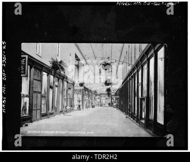 Photograph of postcard (from the Clark County Historical Society, Springfield, Ohio, no date) INTERIOR OF ARCADE BY NIGHT, VIEW NORTH - Arcade Hotel, Fountain Avenue, bounded by High and Washington Streets, Springfield, Clark County, OH - Stock Photo