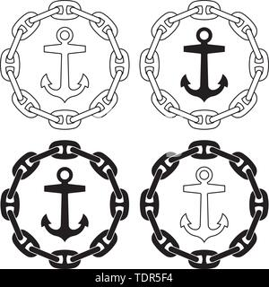 Anchor and stud link anchor chain. Thin line and silhouette vector - Stock Photo