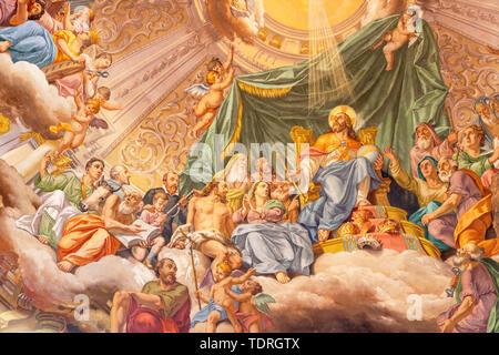COMO, ITALY - MAY 8, 2015: The fresco of Glory of Christ the King in church Santuario del Santissimo Crocifisso by Gersam Turri (1927-1929). - Stock Photo
