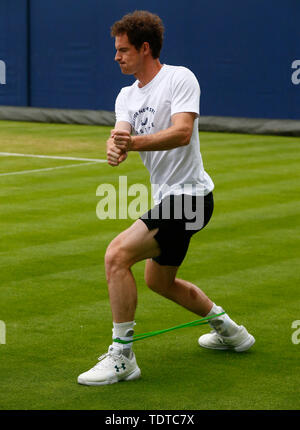 London, UK. 19th June, 2019. LONDON, ENGLAND - JUNE 19: Andy Murray (GBR) practiceing before his Double match during Day 3 of the Fever-Tree Championships at Queens Club on June 19, 2019 in London, United Kingdom. Credit: Action Foto Sport/Alamy Live News - Stock Photo