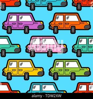 Cartoon car pattern seamless. machine Childrens style background - Stock Photo