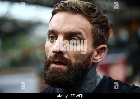 London, UK. 19th June 2019. Aaron Chalmers, Bellator lightweight preforms at the open workouts. at Bellator London: Mousasi vs. Lovato Jr.: Open Workouts at Old Spitalfields Market. June 19, 2019 Credit Dan-Cooke/Alamy Live News - Stock Photo