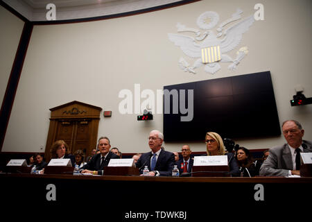 Washington, USA. 19th June, 2019. Photo taken on June 19, 2019 shows the hearing on 'Status of the Boeing 737 MAX: Stakeholder Perspectives' on Capitol Hill in Washington, DC, the United States. Credit: Ting Shen/Xinhua/Alamy Live News - Stock Photo