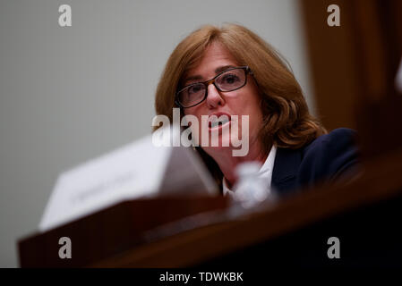 Washington, USA. 19th June, 2019. Sharon Pinkerton of Airlines for America testifies during the hearing on 'Status of the Boeing 737 MAX: Stakeholder Perspectives' on Capitol Hill in Washington, DC, the United States, on June 19, 2019. Credit: Ting Shen/Xinhua/Alamy Live News - Stock Photo