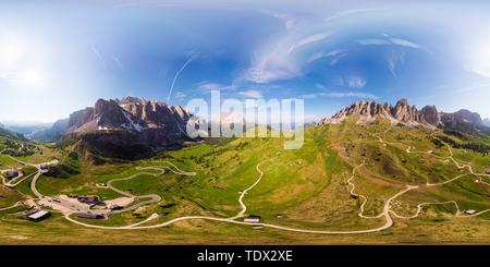 Dolomites - Beautiful panoramic sunset landscape at Gardena Pass, Passo Giau, near Ortisei. Stunning airial view on the top Dolomiti Alps Mountains from drone on summer day, Italy, south Tyrol, Europe - Stock Photo