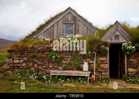 historisches Torfgehoeft in Saenautasel, Island, Joekulsdalheidi | historical peat farmhouse in Saenautasel, Iceland, Joekulsdalheidi | BLWS466172.jpg - Stock Photo