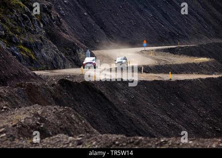 tow cars on the Hadegisfjall trail, islandic road traffic, Iceland - Stock Photo