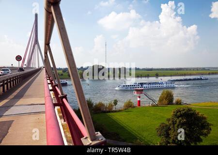 bridge over river Rhine at Wesel, Germany, North Rhine-Westphalia - Stock Photo