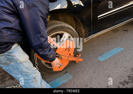 parking offender is installed, Morocco, Rabat - Stock Photo